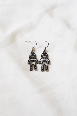 Black Astronaut Earrings