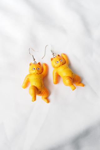 Cat Earrings (Orange)