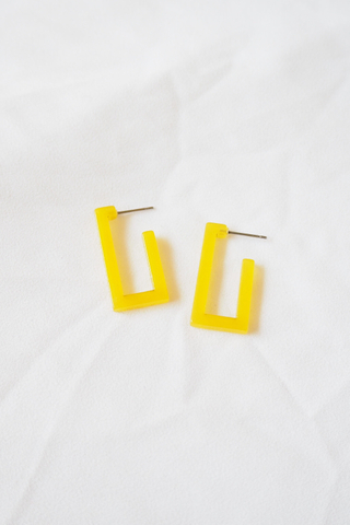 Mini Rectangle Earstuds (Yellow)