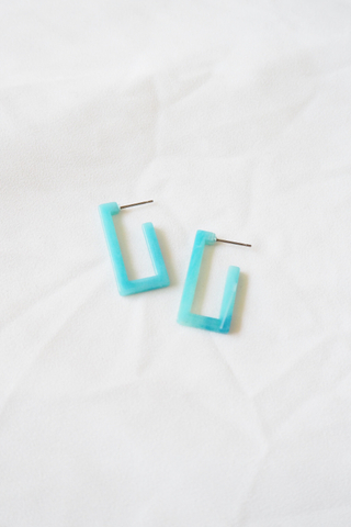Mini Rectangle Earstuds (Blue)