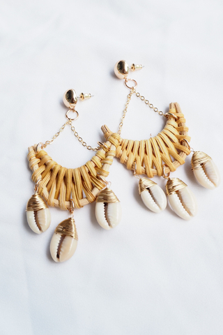 Crescent Rattan & Shell Earrings (Dark)