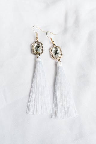 Gem Tassel Earrings (White)