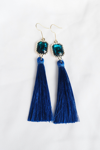 Gem Tassel Earrings (Cobalt)