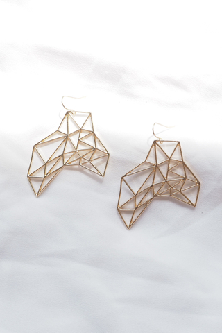 Geometric Cutout Earrings (Gold)