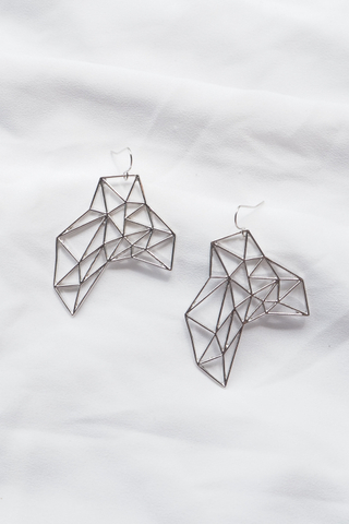 Geometric Cutout Earrings (Silver)