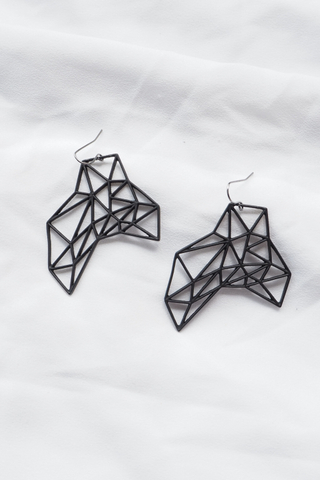 Geometric Cutout Earrings (Black)