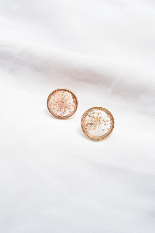 Pressed Flower Ear Clips (Pink)