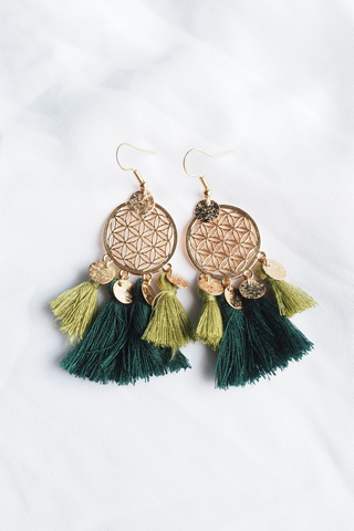 Tania Dream Catcher Earrings (Green)