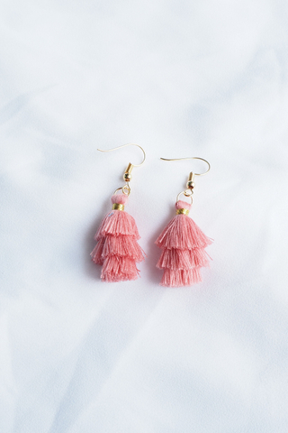 Mini Tassel Earrings (Guava)