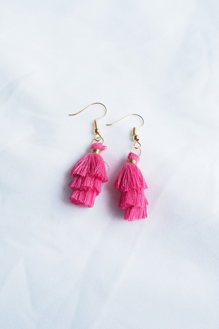 Mini Tassel Earrings (Hot Pink)
