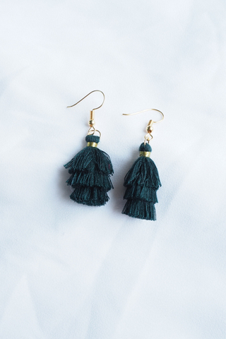 Mini Tassel Earrings (Forest)