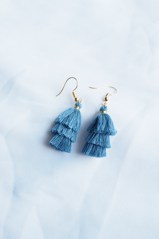 Mini Tassel Earrings (Periwinkle)