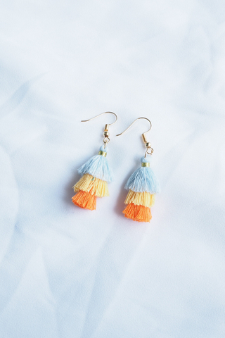 Mini Tassel Earrings (Neon)