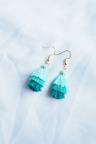 Mini Tassel Earrings (Green)