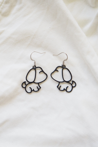 Puppy Earrings (Black)
