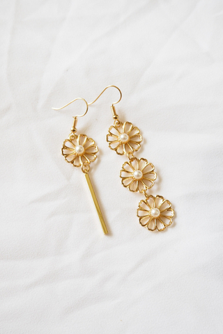Asymmetrical Flower Earrings