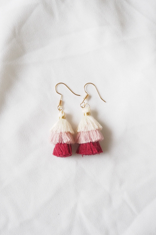 Mini Tassel Earrings (Red)