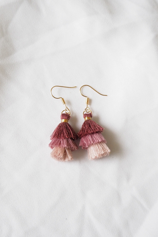 Mini Tassel Earrings (Rose)