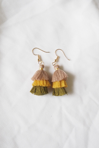 Mini Tassel Earrings (Olive)