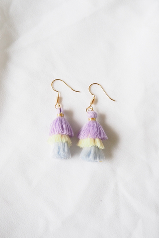 Mini Tassel Earrings (Purple)