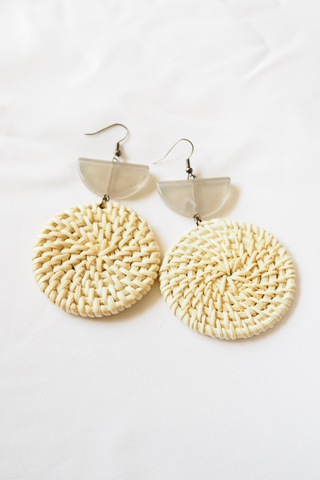 Half Moon Rattan Earrings (Light)