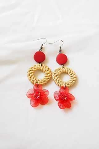 Chiffon Flower Rattan Earrings (Red)
