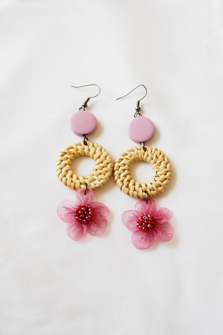 Chiffon Flower Rattan Earrings (Berry)