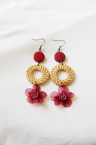 Chiffon Flower Rattan Earrings (Maroon)