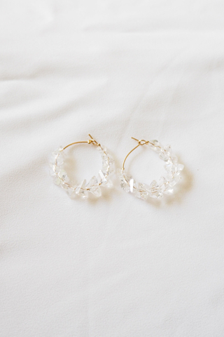 Crystal Hoops (White)