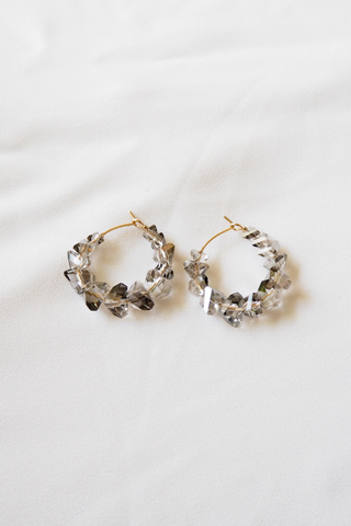 Crystal Hoops (Black)