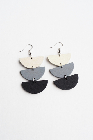 Layered Half Moon Earrings (Monochrome)
