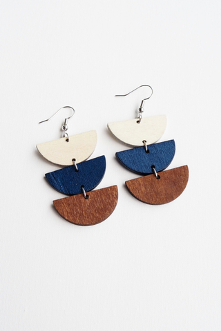 Layered Half Moon Earrings (Blue)