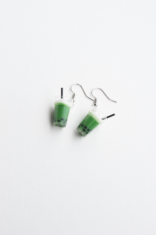 Matcha Bubble Tea Earrings