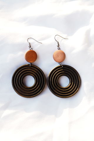 Polly Wood Earrings (Dark)