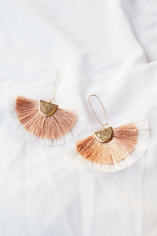 Fan Tassel Loop Earrings (Champagne)
