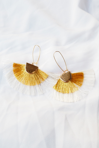 Fan Tassel Loop Earrings (Marigold)