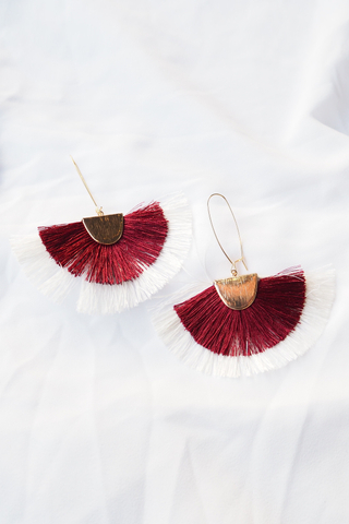 Fan Tassel Loop Earrings (Wine)