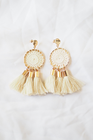 Crotchet Dreamcatcher Earstuds (Cream)