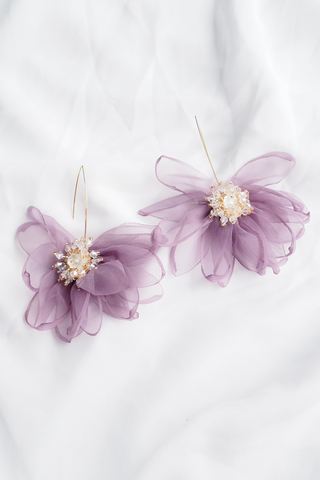 Chiffon Flower Hooks (Purple)