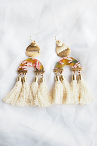 Mila Tassel Earrings (Beige)