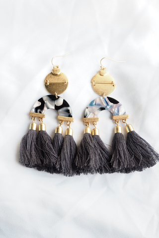 Mila Tassel Earrings (Grey)