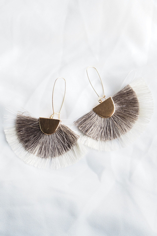 Fan Tassel Loop Earrings (Grey)