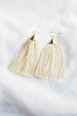 Eliana Tassel Earrings (Beige)
