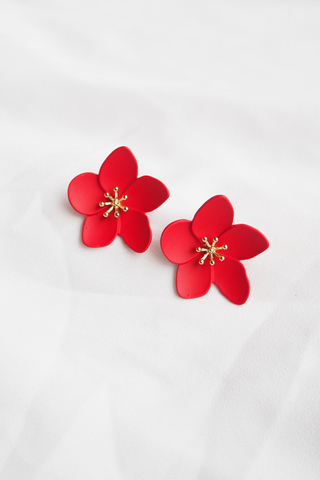 Illina Flower Earstuds (Red)