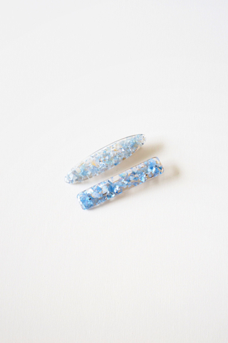Crushed Shells Barrette (Oval Blue)