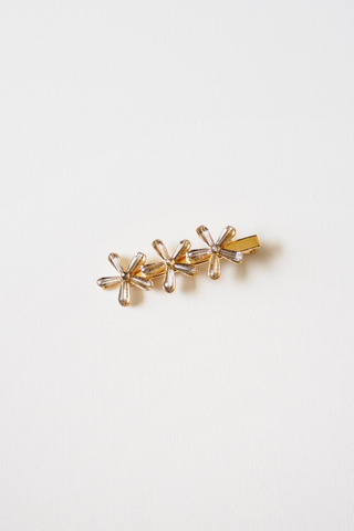 Crystal Flower Barrette (Black)