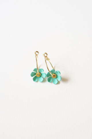 Mini Flower Hoops (Cyan)
