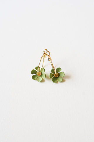 Mini Flower Hoops (Green)