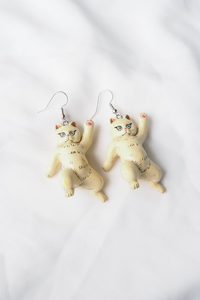 Cat Earrings (Beige)
