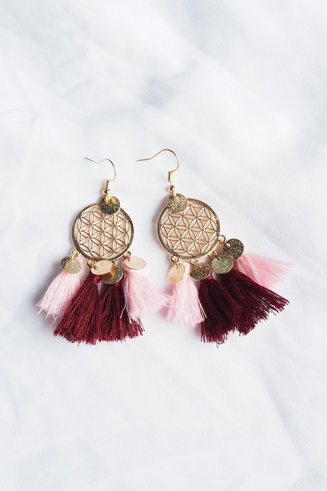 Tania Dream Catcher Earrings (Pink)